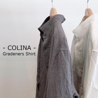 襟を寝せても、立てても。COLINAのガーデナーズシャツ