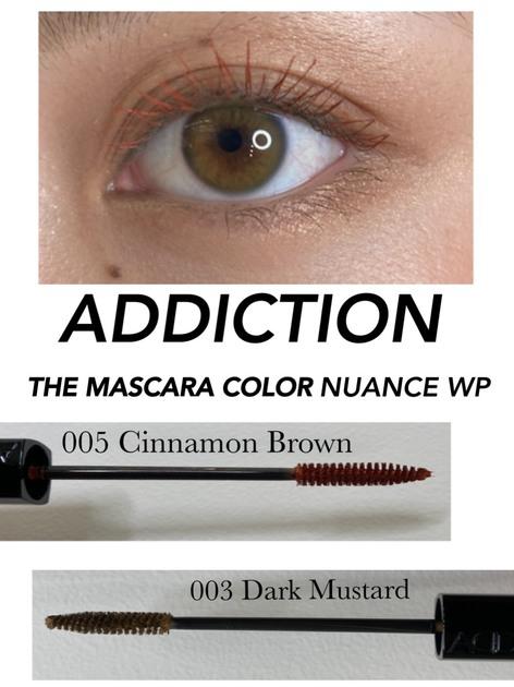 ADDICTIONから待望のカラーマスカラが出ました!!  THE MASCARA COLOR NUANCE WP  深海からインスピレーションをうけた色彩。 軽やかで濃密なまつ毛に仕上げ、美しいカールが持続する、ウォータープルーフタイプ。  画像の上まつ毛は、005 Cinnamon Brown 下まつ毛は、003 Dark Mustardを使用しています。  005 Cinnamon Brownは ブラウン系やオレンジ系、グレー系のアイシャドウととても相性がいいです♫  003 Dark Mustardは程よく、主張しすぎず、さりげない発色なので どんなカラーのアイシャドウでも合わせて使いやすいです!  次回はまた違う組み合わせでご紹介致します♫  ぜひお試しください♩