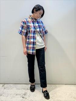 DENIM GALAXY南堀江店のRieさんのEDWINのマドラスチェック 半袖シャツを使ったコーディネート