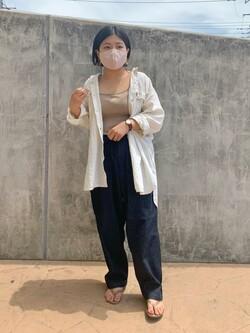 ららぽーと横浜のYukakoさんのLeeの【SALE】【ストレスフリーな穿き心地】ラクして決まる イージーワイドパンツを使ったコーディネート