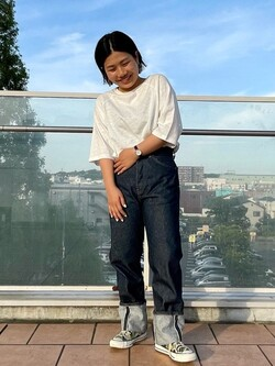 ららぽーと横浜のYukakoさんのLeeの【SALE】【竹下玲奈さんモデル】ストレートデニムパンツ セルヴィッチを使ったコーディネート