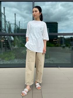 アミュプラザ熊本店のNANAKOさんのLeeの【再値下げSALE】【大人のデザインTシャツ】ボートネック ラグランスリーブTシャツを使ったコーディネート