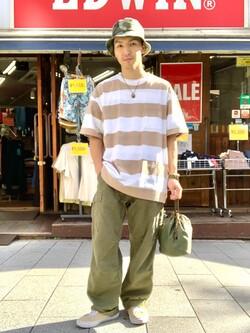 日暮里駅前店のシュンイチさんのALPHAのコーデュラ DRAWSTRING BAG(巾着バッグ)を使ったコーディネート