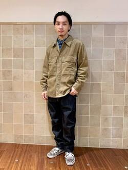 日暮里駅前店のシュンイチさんのALPHAのM-43 コーデュロイシャツジャケットを使ったコーディネート