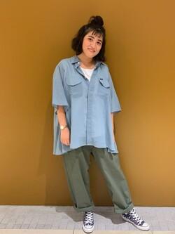 Lee 武蔵小杉店のMiharuさんのLeeの【SALE】シアーシースルーシャツ半袖を使ったコーディネート