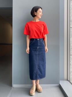 Lee アミュプラザ博多店のYurieさんのLeeの【TOPS 15%OFFクーポン対象】ビッグフィット Tシャツを使ったコーディネート