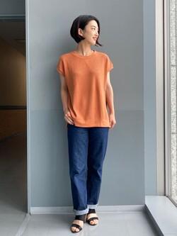 Lee アミュプラザ博多店のYurieさんのLeeの【TOPS 15%OFFクーポン対象】【SALE】【サーマル素材】ノースリーブTシャツを使ったコーディネート