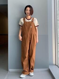 Lee アミュプラザ博多店のYurieさんのLeeの【SALE】リンガー 半袖Tシャツを使ったコーディネート
