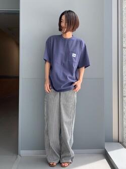 Lee アミュプラザ博多店のYurieさんのLeeの【SALE】ポケット付き 半袖Tシャツを使ったコーディネート