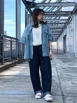 札幌パセオ店のChisatoさんのLeeの【TOPS 15%OFFクーポン対象】【SALE】シアーシースルーシャツ半袖を使ったコーディネート