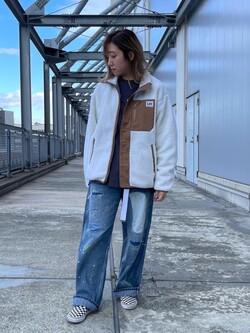 札幌パセオ店のChihiroさんのLeeの【ユニセックス】DUNGAREES ペインターパンツ リメイクを使ったコーディネート