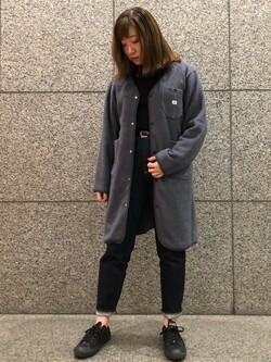 札幌パセオ店のChihiroさんのLeeの【Winter sale】【ユニセックス】【やわらかフリース】ノーカラーコートを使ったコーディネート