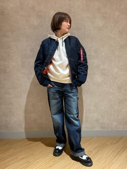 錦糸町PARCO店のKaeさんのEDWINの【Winter sale】F.L.E パーカー(ダンボールニット)を使ったコーディネート