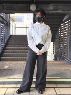 DENIM GALAXY日暮里店ののんさんのEDWINの【SALE】ラウンドカラー プルオーバー シャツ 長袖を使ったコーディネート