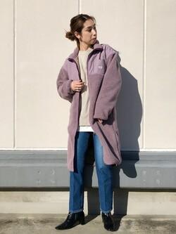 エスパル仙台店のeriさんのLeeの終了【再値下げ Winter sale】【ユニセックス】【着回し力抜群】フリース コートを使ったコーディネート