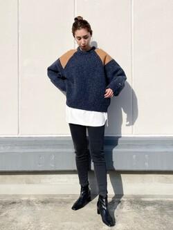 エスパル仙台店のeriさんのLeeの【Winter sale】ミリタリー パッチワークセーターを使ったコーディネート