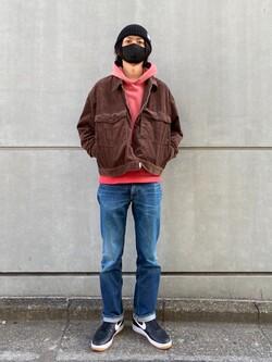 原宿店のYoshitakaさんのLeeの【再値下げ Winter sale】【USED WASH】スウェットパーカーを使ったコーディネート