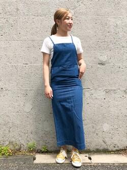 Lee アミュプラザ博多店のNanamiさんのLeeの【竹下玲奈さんモデル】ジャストフィットTシャツを使ったコーディネート