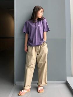 Lee アミュプラザ博多店のNanamiさんのLeeの【SALE】【ユニセックス】ワンポイントロゴ刺繍 半袖Tシャツを使ったコーディネート