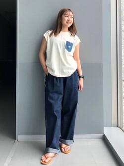 Lee アミュプラザ博多店のNanamiさんのLeeのデニムポケット ノースリーブTシャツを使ったコーディネート