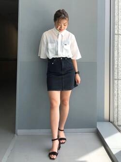 Lee アミュプラザ博多店のNanamiさんのLeeの【SALE】シアーシースルーシャツ半袖を使ったコーディネート