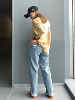 Lee アミュプラザ博多店のNanamiさんのLeeの終了【SALE】【ユニセックス】バッグロゴ 半袖Tシャツを使ったコーディネート
