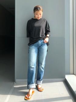 Lee アミュプラザ博多店のNanamiさんのLeeの【再値下げSALE】【大人のデザインTシャツ】ボートネック ラグランスリーブTシャツを使ったコーディネート