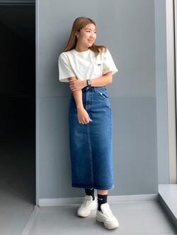 Lee アミュプラザ博多店のNanamiさんのLeeのポケットLeeロゴ刺繍 半袖Tシャツを使ったコーディネート