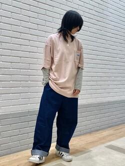 エスパル仙台店のmisaさんのLeeの【SALE】ポケット付き 半袖Tシャツを使ったコーディネート