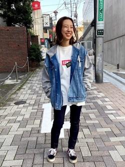 TOKYO HARAJUKU店のFemale StaffさんのEDWINの【Winter sale】【コンセプトショップ限定】EDWIN×ZOO YORK DENIM MIX HOODIEを使ったコーディネート