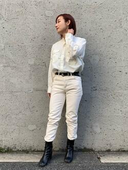 Lee アミュプラザ博多店のMISAKIさんのLeeのバンドカラー デニム/コットン 長袖シャツを使ったコーディネート