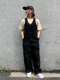 Lee アミュプラザ博多店のMISAKIさんのLeeの【予約】【Lee×GRAMICCI(グラミチ)】フロントジップ オーバーオールを使ったコーディネート