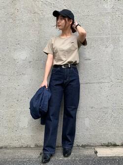 Lee アミュプラザ博多店のMISAKIさんのLeeのワンポイントロゴ刺繍 半袖Tシャツを使ったコーディネート