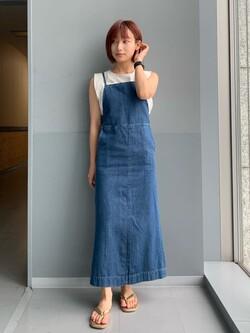 Lee アミュプラザ博多店のMISAKIさんのLeeの【SALE】ノースリーブ Tシャツを使ったコーディネート