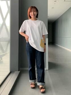 Lee アミュプラザ博多店のMISAKIさんのLeeの終了【SALE】【直営店・WEB限定】ペインターポケット半袖Tシャツを使ったコーディネート