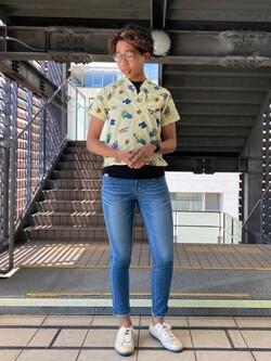 DENIM GALAXY日暮里店のMariさんのEDWINの【EDWIN 60周年限定】 半袖シャツを使ったコーディネート
