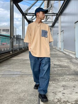 札幌パセオ店のgenさんのLeeの【TOPS 15%OFFクーポン対象】【SALE】ラグラン ポケット配色Tシャツを使ったコーディネート