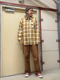 ららぽーと横浜のsatoさんのLeeのチェック柄 長袖シャツを使ったコーディネート