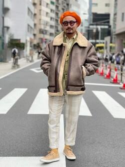 ALPHA SHOP渋谷店のKataoka.RさんのALPHAの【予約】B-3 フェイクムートン【11月上旬頃発送予定】を使ったコーディネート