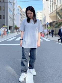 ALPHA SHOP渋谷店のmoe さんのALPHAのLOONEY TUNES タズマニアン・デビル バックプリント Tシャツを使ったコーディネート