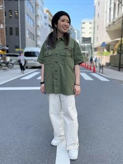 ALPHA SHOP渋谷店のmoe さんのALPHAのユーティリティーシャツ(半袖)を使ったコーディネート
