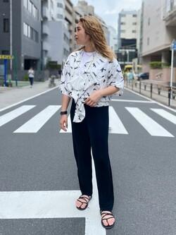 ALPHA SHOP渋谷店のmoe さんのALPHAの終了【ガレージセール】USA COTTON ポケットTシャツを使ったコーディネート