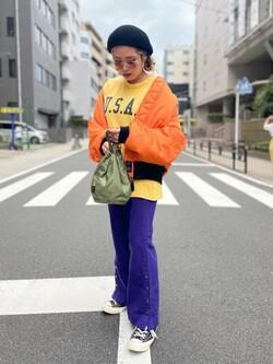 ALPHA SHOP渋谷店のmoe さんのALPHAのコーデュラ DRAWSTRING BAG(巾着バッグ)を使ったコーディネート