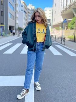 ALPHA SHOP渋谷店のmoe さんのALPHAの終了【ガレージセール】U.S.A.I ビンテージプリントTシャツを使ったコーディネート