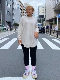 ALPHA SHOP渋谷店のn a n a s a さんのALPHAのピンナップガール 長袖Tシャツを使ったコーディネート