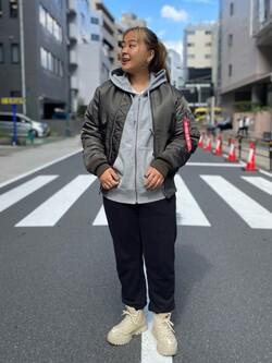 ALPHA SHOP渋谷店のn a n a s a さんのALPHAのシガレットポケット ジップパーカーを使ったコーディネート