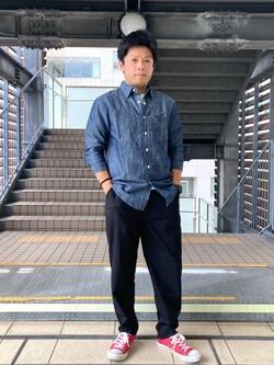 DENIM GALAXY日暮里店のAzumaさんのEDWINの歩クール イージーパンツ レギュラーテーパードを使ったコーディネート