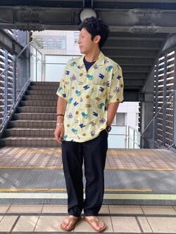 DENIM GALAXY日暮里店のAzumaさんのEDWINの【EDWIN 60周年限定】 半袖シャツを使ったコーディネート