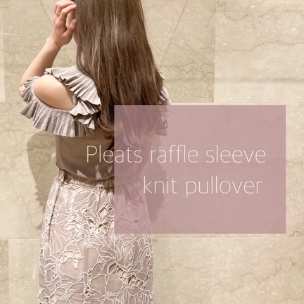 Pleats raffle sleeve knit pullover