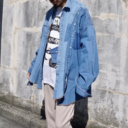 77CIRCA 別注wide denim western shirt